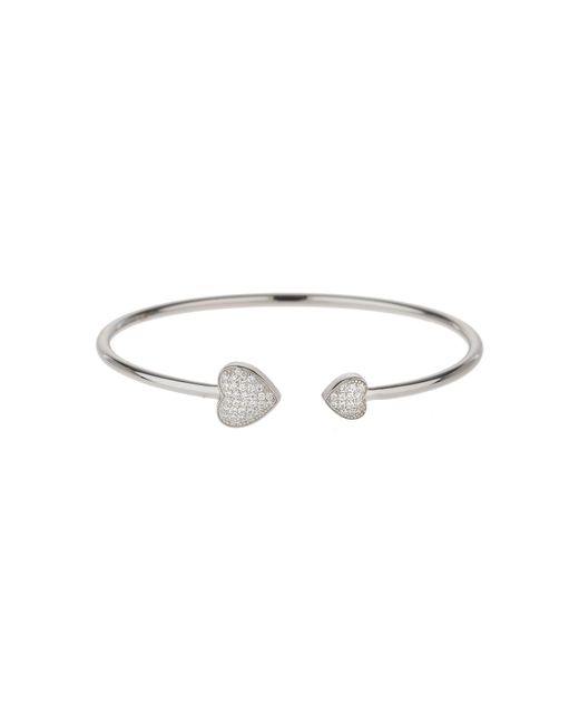 Mikey | Metallic Sterling Silver 925 Twin Heart Bangle | Lyst