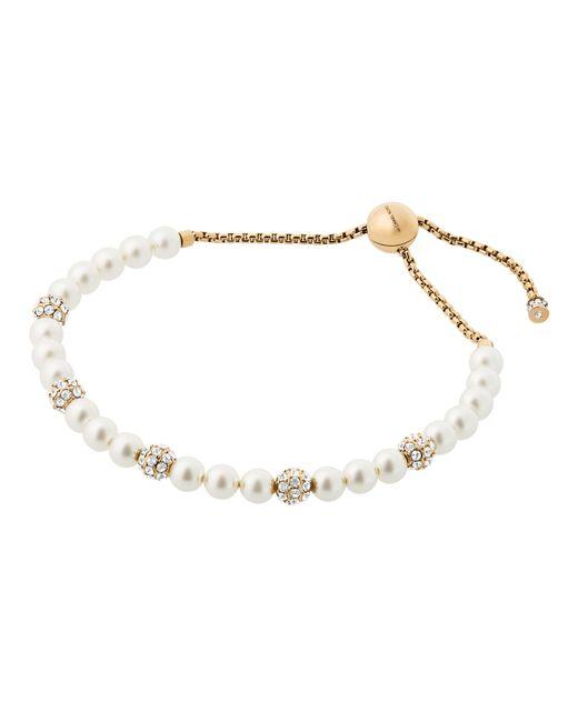 Michael Kors | Metallic Classic Modern Faux-pearl Slider Bracelet | Lyst