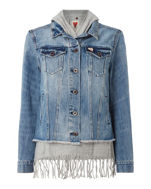 Maison Scotch   Blue Denim Jacket With Fringe Detail   Lyst