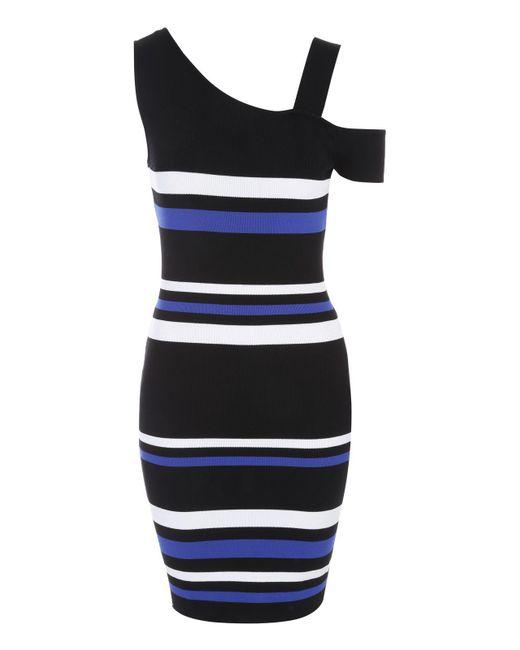 Jane Norman | Black Stripe One Shoulder Jumper Dress | Lyst