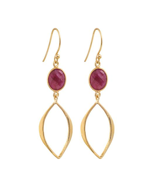Juvi Designs - Red Gold Vermeil Boho Cat Eye Earrings - Lyst