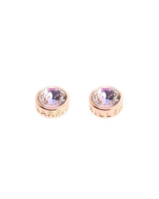 Karen Millen - Pink Logo Stud Earrings - Rose Gold Colour - Lyst