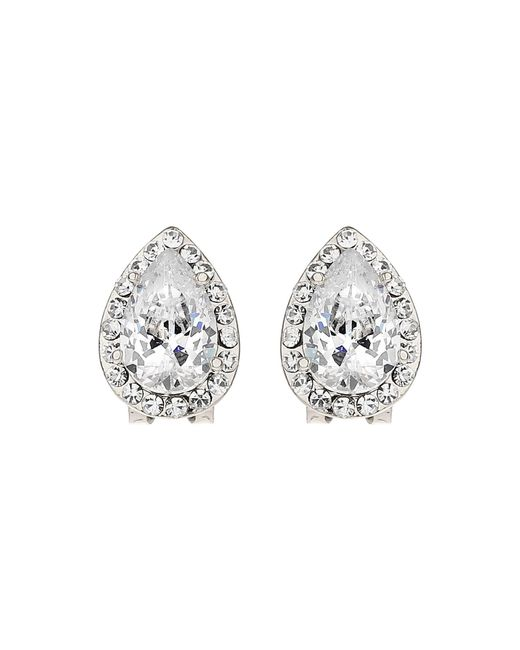 Mikey | White Oval Stone Edged Stud Earring | Lyst