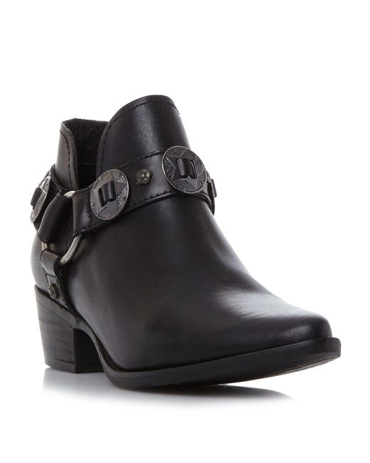 Steve Madden | Black Aces Belt And Hardware Ankle Boots | Lyst