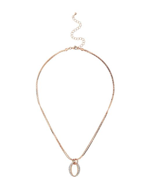 Mikey - Metallic Interlink Oval Crystal Pendant Necklace - Lyst