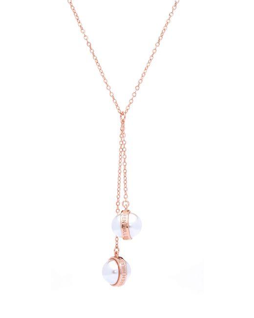 Karen Millen - Metallic Logo Pearl Double Drop Necklace - Lyst