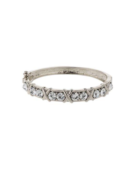 Mikey | Metallic Cross Design Rnd Crystal Link Bracelet | Lyst