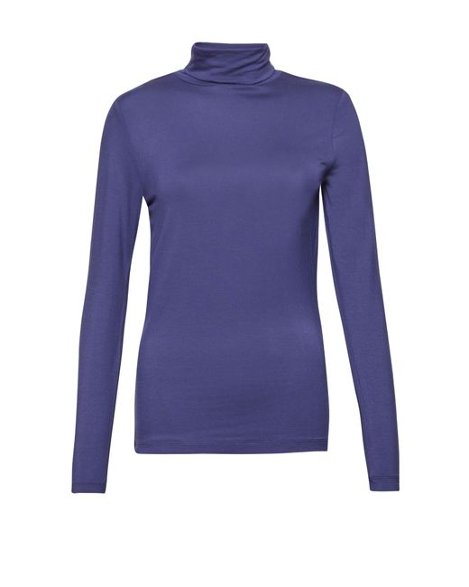Great Plains | Blue Sudbury Stretch Poloneck Top | Lyst