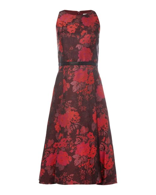 Tahari   Red Fit And Flare Floral Dress   Lyst