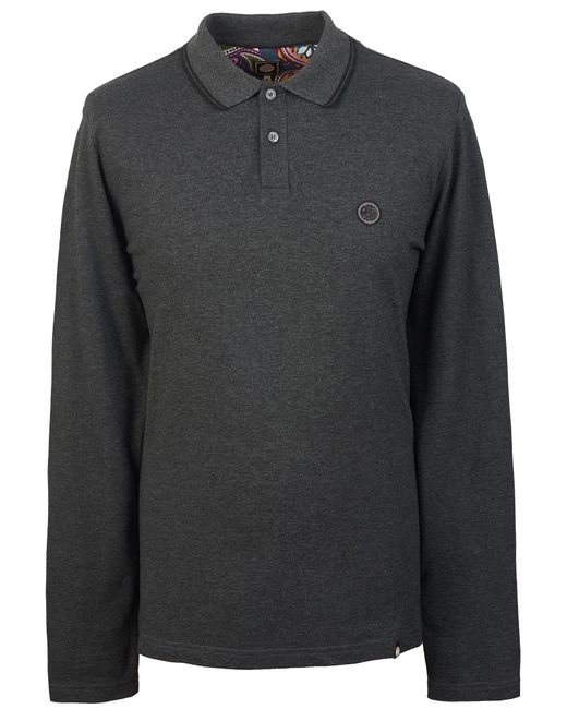 Pretty Green - Gray Long Sleeve Tipped Pique Polo Shirt for Men - Lyst