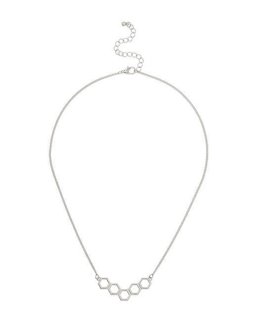 Mikey   White Diamond Design Link Necklace   Lyst