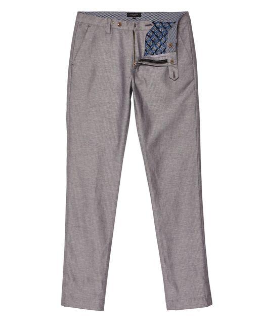 Ted Baker - Gray Men's Cazzman Slim Linen Herringbone Trouser for Men - Lyst