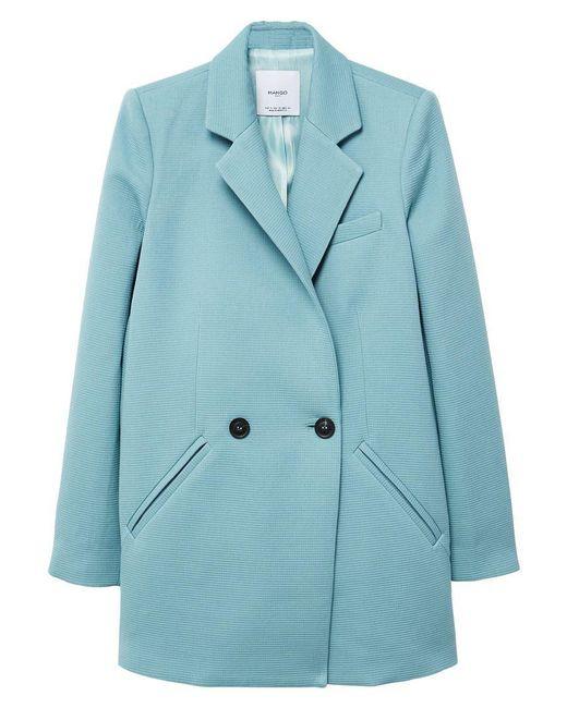 Mango | Green Textured Structured Coat | Lyst