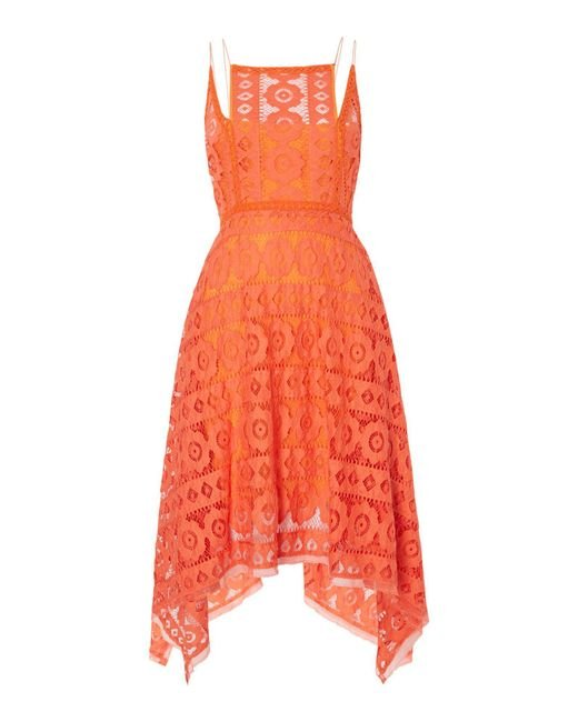 Free People | Orange Just Like Honey Lace Dress With Hankerchief Hem | Lyst