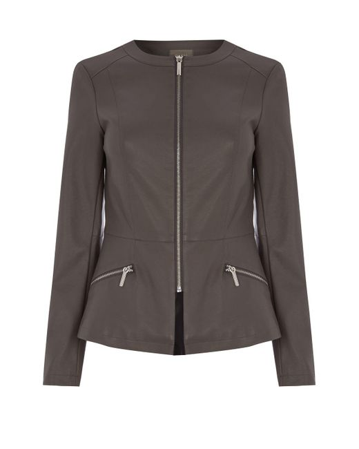 Oasis | Gray Faux Leather Collarless Jacket | Lyst