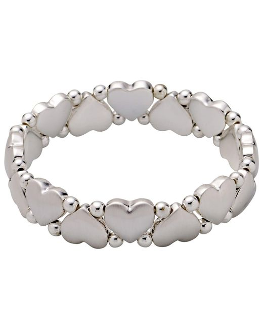 Pilgrim | Metallic Silver-plated Hearts And Pearls Bracelet | Lyst