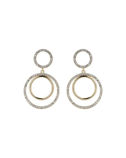 Mikey | Metallic Twin Circle Embed Cubic Drop Earring | Lyst