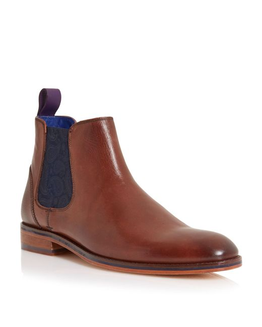 Ted Baker - Brown Camroon Paisley Panel Chelsea Boots for Men - Lyst