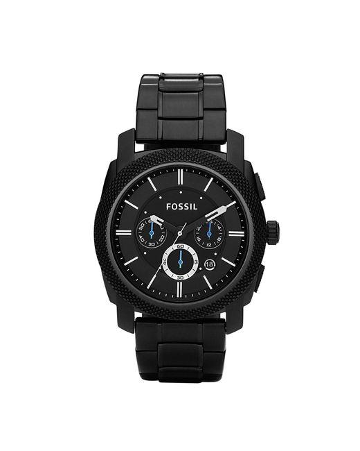 Fossil - Men's Chronograph Machine Black Stainless Steel Bracelet Watch 45mm Fs4552 for Men - Lyst