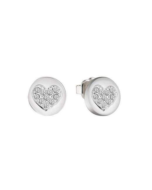 Guess - Metallic Heart Devotion Sparkle Coin Stud Earring - Lyst