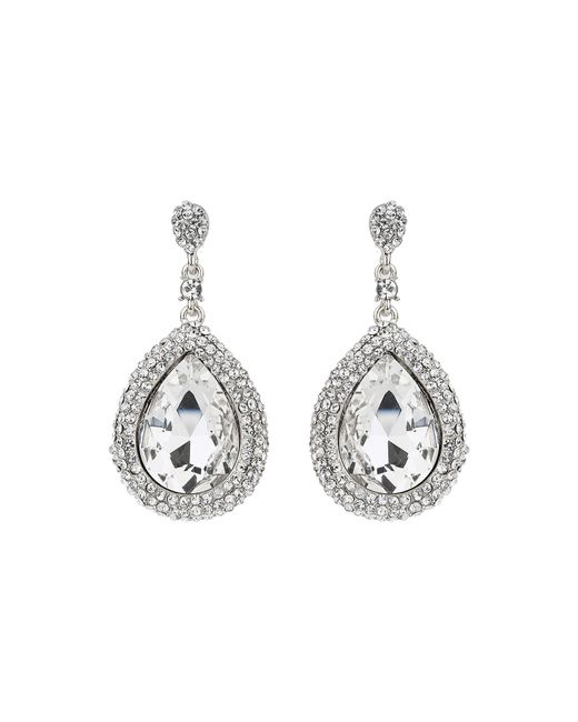 Mikey - Metallic Large Oval Crystal Edged Drop Earring - Lyst
