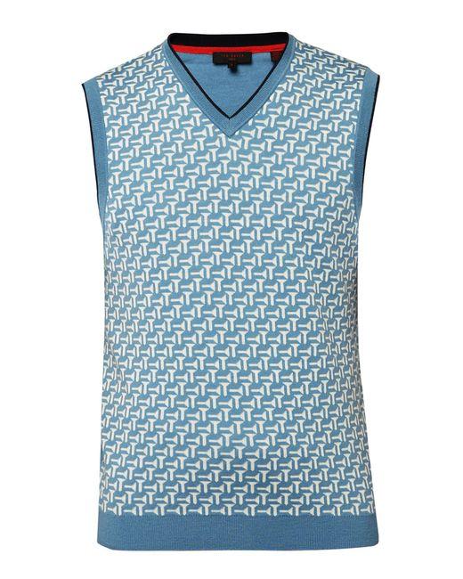 Ted Baker   Blue Tommas Jacquard Merino Wool Tank for Men   Lyst
