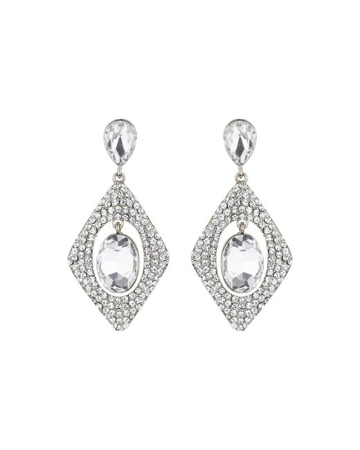Mikey - White Diamond Design Hanging Centre Earring - Lyst