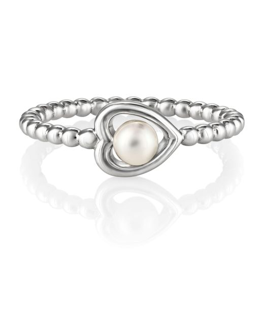 Jersey Pearl - Metallic Silver Heart Ring - Lyst