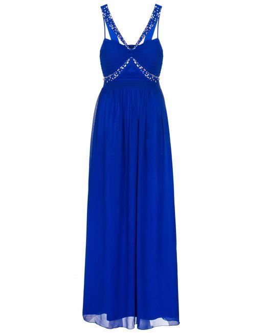 Quiz | Royal Blue Chiffon Embellished Maxi Dress | Lyst