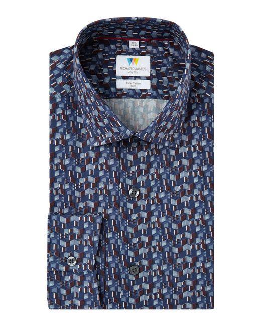 Richard James - Blue 3d Box Print Slim Fit Shirt for Men - Lyst