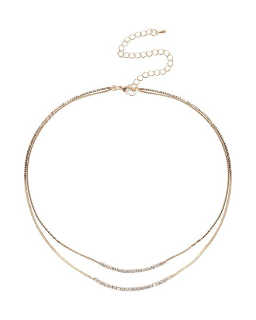 Mikey | Metallic Crystal Chain Snake Chain Necklace | Lyst