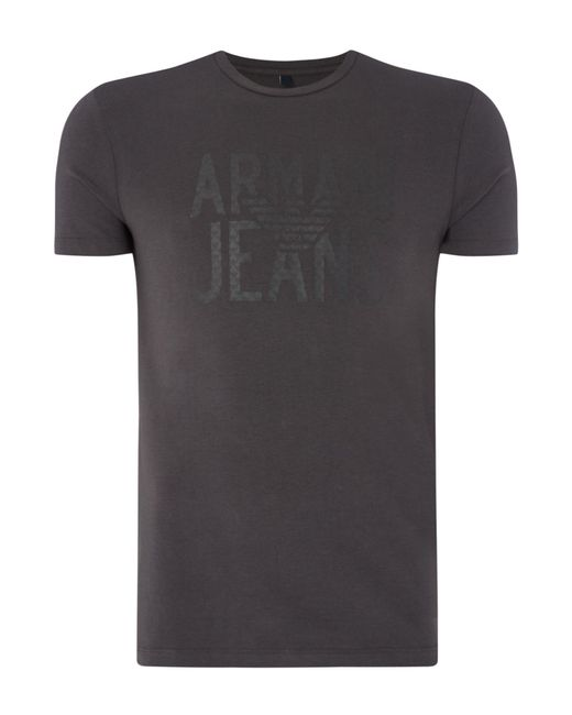 Armani Jeans | Gray Armani Logo Print Crew Neck T-shirt for Men | Lyst