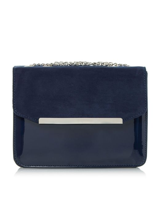 Dune | Blue Betsi Mix Material Square Clutch Bag | Lyst