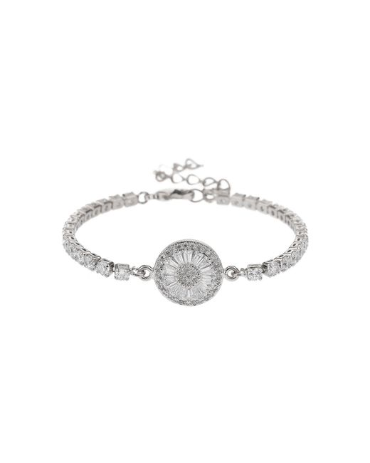 Mikey | White Baugette Disc Crystal Chain Bracelet | Lyst