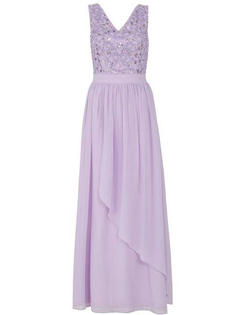 Quiz | Purple Lilac V Neck Diamante Maxi Dress | Lyst