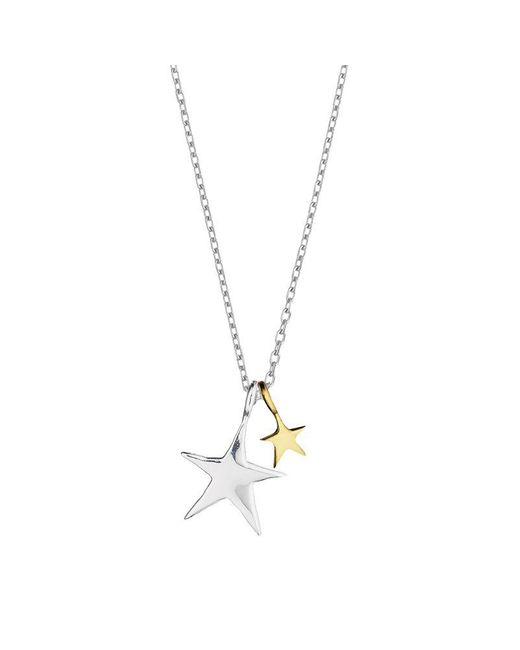 Estella Bartlett - Metallic Two Tone Double Star Necklace - Lyst