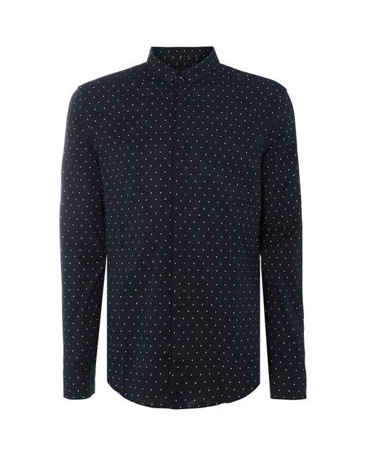 Armani Exchange Blue All Over Logo Shirt for men
