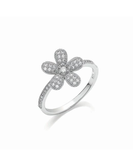 Bouton | Metallic Micro Pave Floral Ring | Lyst