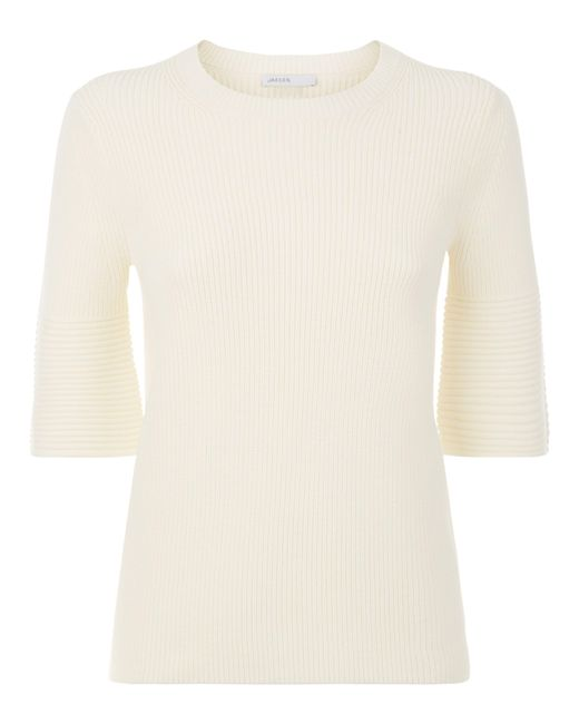 Jaeger | White Fluted Sleeve Rib Knit | Lyst