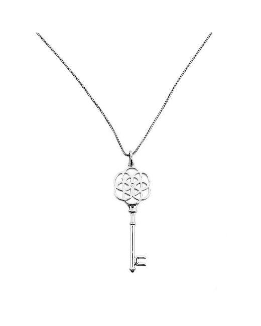 Azendi | Metallic Silver Open Camellia Rose Key Pendant | Lyst