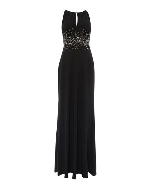 JS Collections | Black Jewel Waist Keyhole Maxi Dress | Lyst