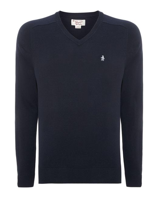 Original Penguin | Blue Camford V Neck Jumper for Men | Lyst