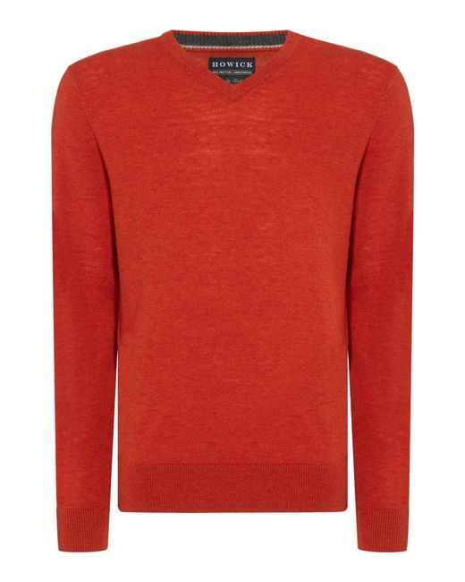 Howick | Orange Arlington V-neck 100% Lambswool Jumper for Men | Lyst