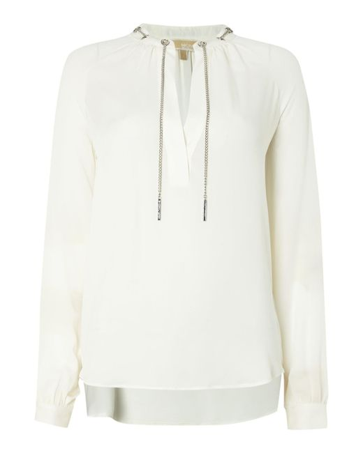 Michael Kors | White Long Sleeve Chain Silk Blouse | Lyst
