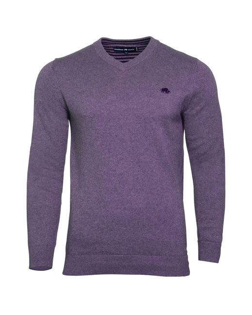 Raging Bull | Purple Big And Tall V-neck Cotton Cashmere Jumper for Men | Lyst
