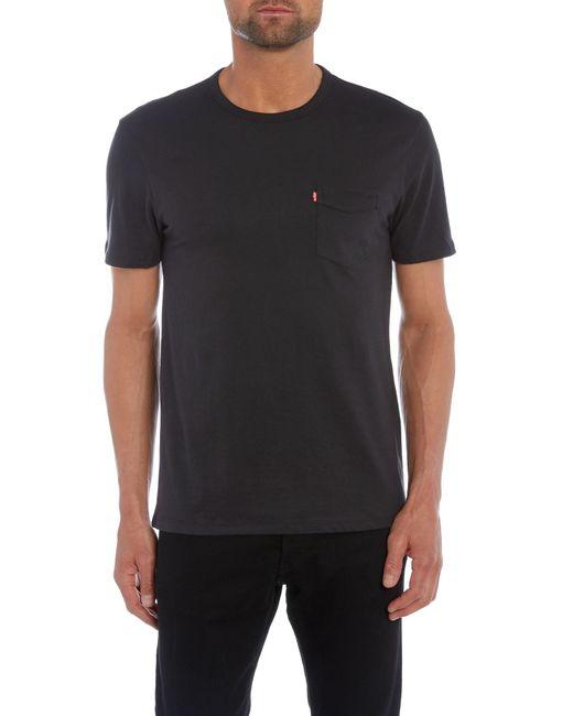 Levi 39 s pocket front crew neck t shirt in black for men lyst for Levis plain t shirts