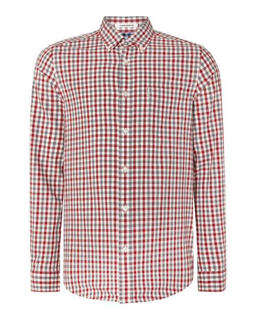 Ben Sherman | Red House Gingham Check Long Sleeve Shirt for Men | Lyst