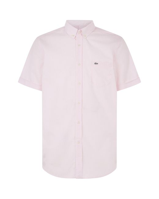 Lacoste | Pink Short Sleeved Check Shirt for Men | Lyst