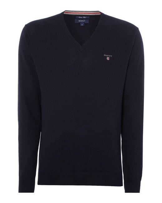 Gant | Blue Plain V Neck Jumper for Men | Lyst