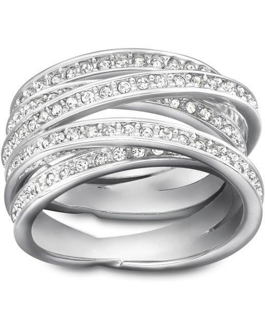 Swarovski   Metallic Spiral Ring   Lyst